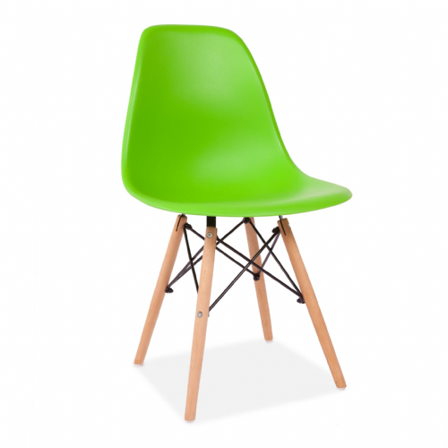x4 Eiffel Style Plastic Dining Chair, Green